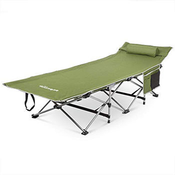 Alpcour Folding Camping Cot with Comfortable Pillow, Side Pocket and Convenience Carry Bag