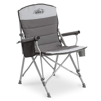 CORE Folding Padded Hard Arm Camp Chair with Carry Bag