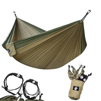Legit Camping Hammock Lightweight Parachute Portable with Nylon Straps Steel Carabiners