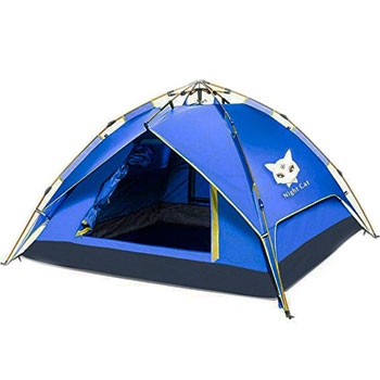 Night Cat Camping Tent Easy Instant Pop-Up Automatic Hydraulic Double Layer