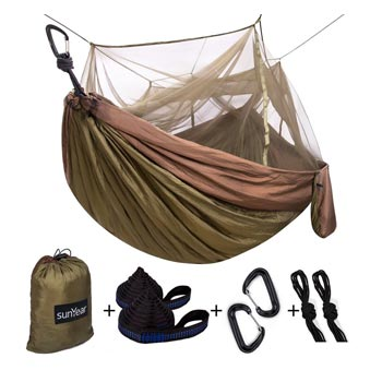 Sunyear Camping Hammock with Tree Straps, Carabiners, Easy Assembly