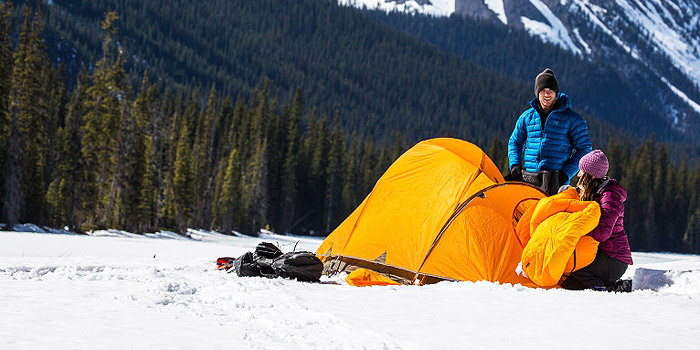 winter camping tent how to set up in snow