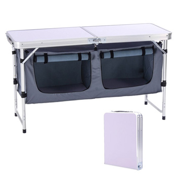 CampLand Outdoor Folding Table Aluminum Lightweight Height Adjustable with Storage Organizers
