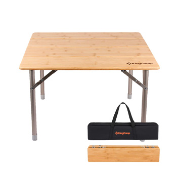 KingCamp Bamboo Folding Camping Table Aluminum Frame