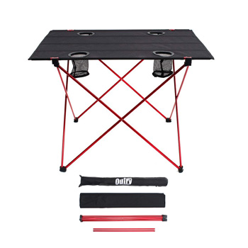 Outry Lightweight Folding Portable Camp Table with Cup Holders