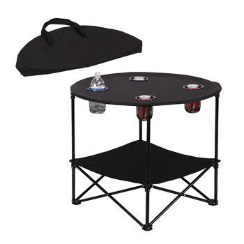 Preferred Nation Folding Table Polyester with Metal Frame and 4 Cup Holders