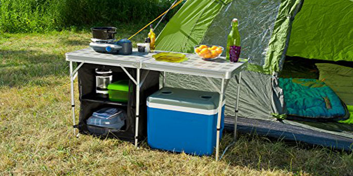 coleman camping table with storage and cooler