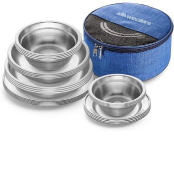 Wealers Stainless Steel Plates and Bowls Camping Set