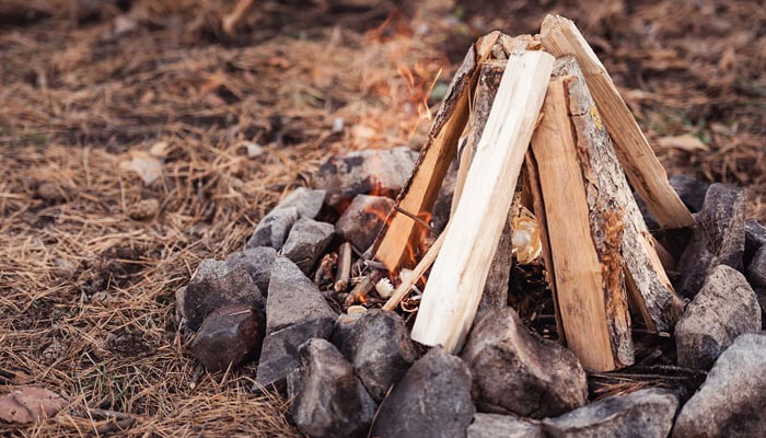 gathering and laying camfire wood
