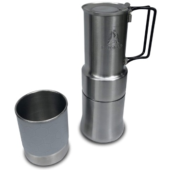 nCamp Portable Camping Coffee Maker, Compact Espresso Style, Stainless Steel Stovetop Cafe Gear for Camping